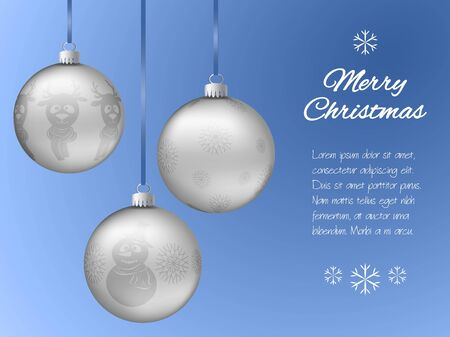 blue ball: Christmas card with three silver pendants in the shape of a ball. Decorated with snowflakes, reindeer, snowman. Classic blue background with place for your text. Vector illustration.