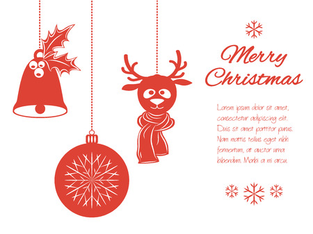 Christmas pendants: a bell with holly, ball and a deer in scarf. Universal border, isolated on white background with place for your text. Vector illustration. It can be used to design greeting card, banner, invitation, logo and sticker, stamp. Illustration