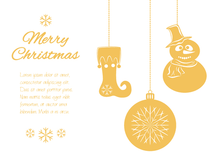 Christmas pendants: a snowman in hat and scarf, ball and a stocking. Universal border, isolated on white background with place for your text. Vector illustration. It can be used to design greeting card, banner, invitation, logo and sticker, stamp.