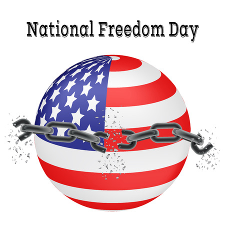 emancipation: National Freedom Day. Vector illustration of a broken chain on a background of the American flag in the shape of a ball. Usable for design greeting card, banner, invitation, poster