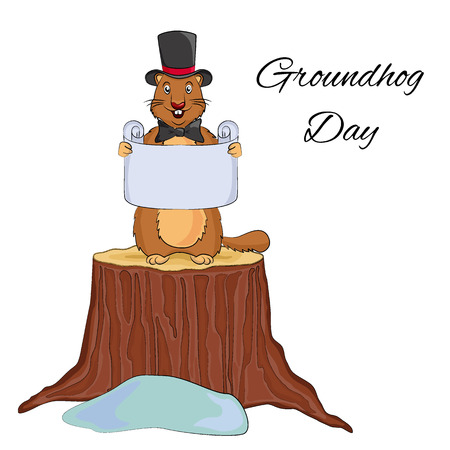 Groundhog Day cartoon design. Cute  in a hat and bow tie holding  scroll. Vector EPS 10 illustration. Usable for  greeting card, banner, invitation, calendar, poster