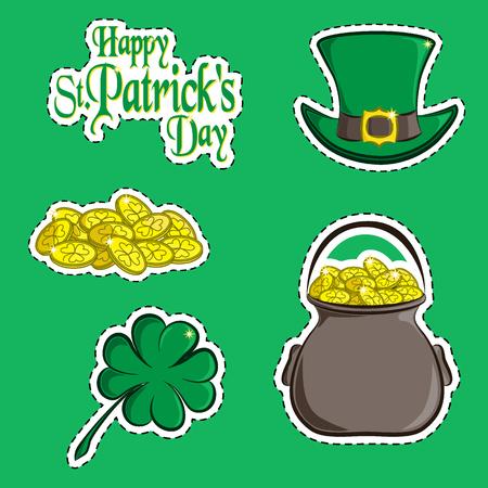 Vector set of design element and scrapbook object  St. Patricks Day symbols. Greeting inscription, green hat, a handful  coins, clover quatrefoil   pot  gold. Usable for your Ilustração