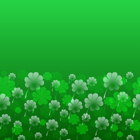 Abstract St. Patrick s Day vector pattern. Transparent four-leaf clover on a green background as symbol of the holiday. Free space for your text. Usable design greeting card, banner, invitation, poster, Illustration