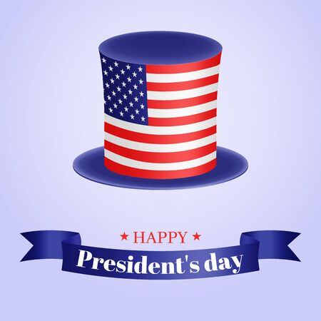 Presidents Day vector illustration. American top hat and greeting inscription on the tape. Usable for design  card, banner, invitation, poster