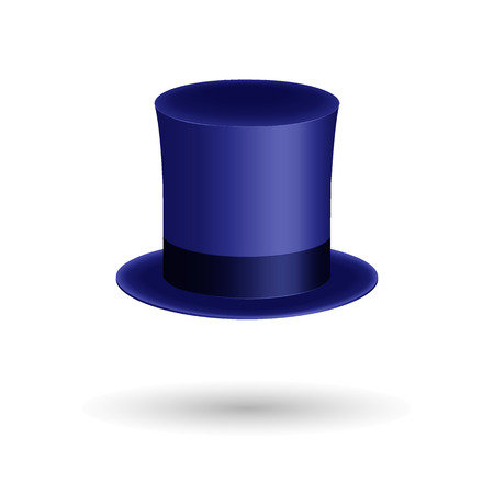 Blue gentleman hat cylinder with silk ribbon. Elegance and luxury symbol. Volumetric icon  shadow. Vector Illustration. EPS10