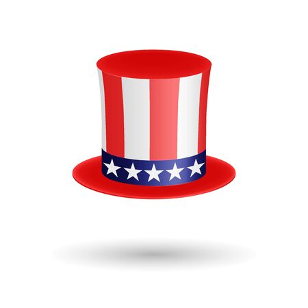American gentleman hat cylinder with ribbon. Presidents Day symbol. Volumetric icon isolated on white background. Vector Illustration. EPS10