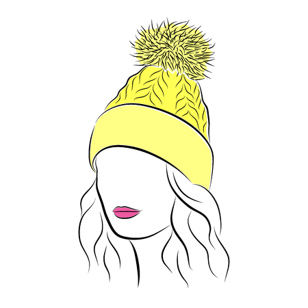 Beautiful young woman in yellow knitted hat with pompom Illustration