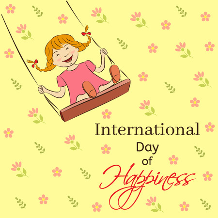 joyfulness: International Day of Happiness vector illustration. Laughing girl riding on a swing. You can insert your own text. Usable for design greeting card, banner, invitation, poster