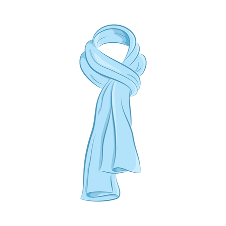 Realistic scarf. Women s fashion accessories. The blue object isolated on white background. Vector cartoon illustration in hand drawing style for your design. EPS10 format.