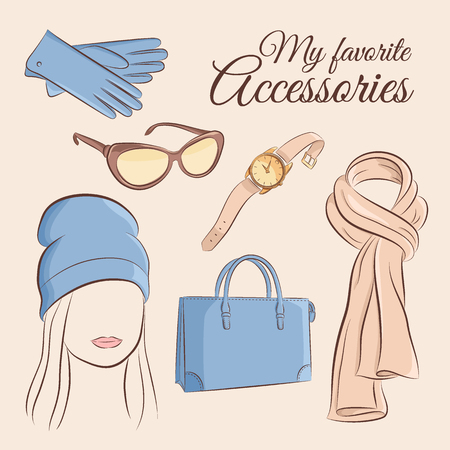 Fashion vector set illustration of a stylish trendy accessory with a girl gloves, sunglasses, wristwatch, hand bag, knitted hat, scarf. Illustration