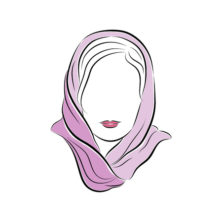 Close up portrait. Beautiful young woman in a lilac scarf on her head. Illustration