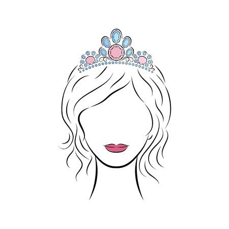 초상화를 닫습니다. 아름 다운 어린 소녀 크라운이나 그녀의 머리에 보석와 티아라를 입고. 밝은 입술이 그녀의 얼굴에 그렸습니다. 벡터 패션 스케치
