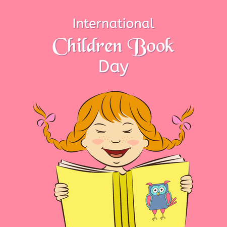International Children Book Day concept. Laughing girl is reading a book. Vector illustration. Usable for design, invitation, banner, background, poster.
