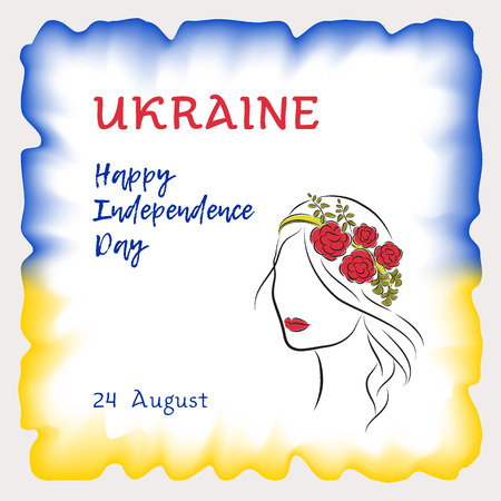 national women of color day: Vector illustration, greeting card, banner or poster Independence day of Ukraine. The watercolor frame is painted in blue and yellow colors of the Ukrainian flag. A beautiful girl with flowers in her hair