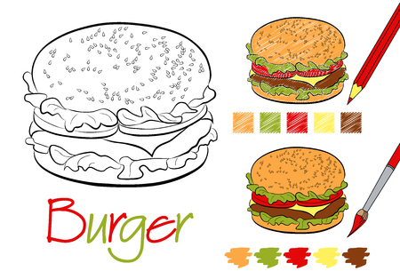 Hamburger coloring page for the book with examples of coloring with a pencil and paints. Hand drawn style. Five color samples. Vector illustration.