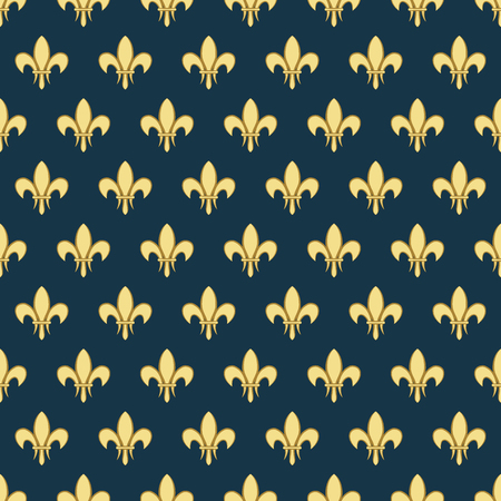 Seamless pattern with a gold royal lily called a fleur-de-lis on a dark background. Vector heraldic ornament. Usable for design, packaging, wallpaper, textile, card, web Imagens - 85640095