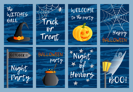 Vector set of eight postcards, invitations or banners. Halloween theme. Traditional holiday symbols and inscriptions. Jack-o-lantern, ghost, witch hat, cauldron. Abstract blots background