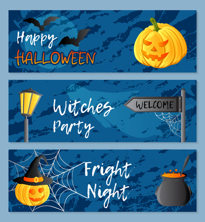 Vector set of three horizontal banners. Halloween theme. Traditional holiday symbols and inscriptions. Jack-o-lantern, ghost, witch hat, cauldron, bat, web. Abstract blots background