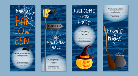 Vector set of four vertical banners. Halloween theme. Traditional holiday symbol Jack o lantern, witch hat, broom, cauldron, bat, web. Abstract blots background. Illustration