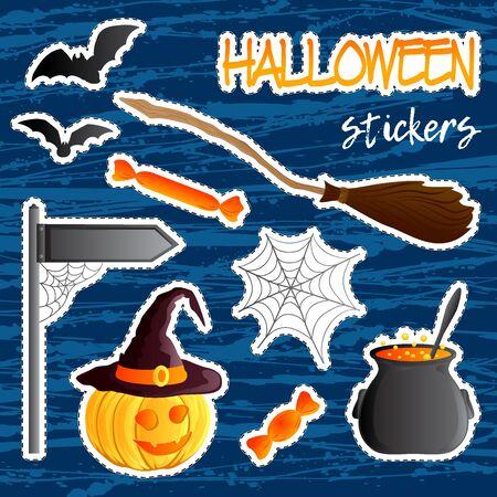 Vector set of festive stickers. Halloween theme. Traditional holiday symbol Jack o lantern, witch hat, broom, cauldron, bat, web. Abstract blots background. Stock Photo
