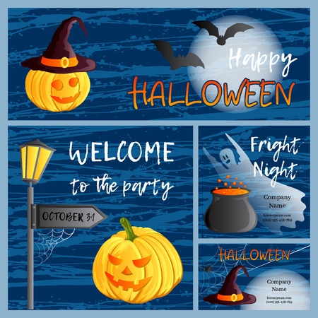 Vector set of four Halloween banners and cards. Traditional holiday symbols Jack o lantern, witch hat, broom, cauldron, bat, spider web, ghost. Abstract blots background.