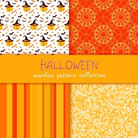 october 31: Festive seamless pattern collection. Set of vector Halloween illustration. Stripes, circles, scribble texture, holiday symbols and characters jack o lantern, witch hat, bat, spider, corn candy. Usable for design, packaging, wallpaper, textile, card