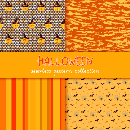 Festive seamless pattern collection. Set of vector Halloween illustration. Stripes, circles, stains, blots, scribble texture, holiday symbols and characters jack o lantern, witch hat, bat, spider web, corn candy Usable for design, packaging, wallpaper, textile Illustration