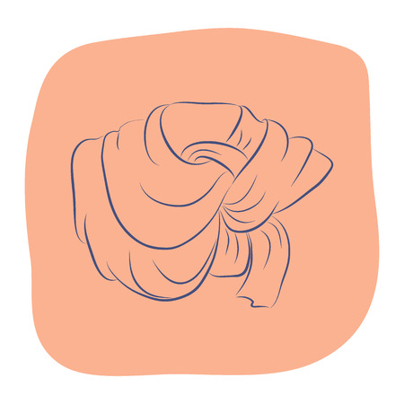 Realistic scarf or shawl. Women fashion accessories. Contour object on an orange background. Vector sketch illustration in hand drawing style for your design. Illustration