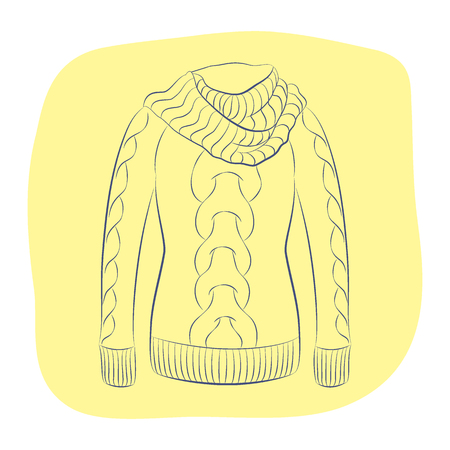 A realistic warm jumper or knitted sweater with a large collar. Women fashion winter clothes. Contour object on an yellow background. Vector sketch illustration in hand drawing style for your design. Illustration