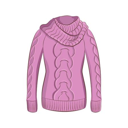 사실적인 따뜻한 점퍼 또는 큰 칼라가 달린 스웨터. 여성 패션 겨울 옷. 흰색 배경에 고립 된 보라색 개체입니다. 귀하의 디자인에 대 한 스타일을 그리