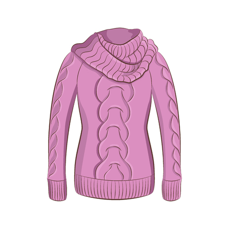 A realistic warm jumper or knitted sweater with a large collar. Women fashion winter clothes. Purple object isolated on white background. Vector cartoon illustration in hand drawing style for your design. EPS10 format. Vettoriali