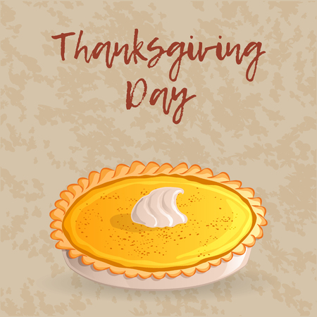 Thanksgiving day greeting card, banner or background with a traditional pumpkin pie. Hand drawn style. Vector illustration