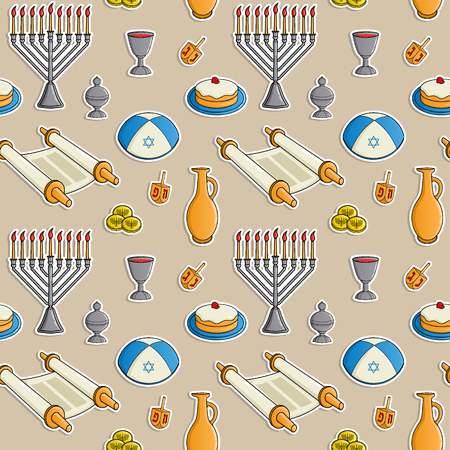 Jewish holiday Hanukkah seamless pattern. Traditional menorah, candles, Dreidel with Hebrew letters, jug of oil, bowl of wine, coin, donut. Colorful vector illustration.