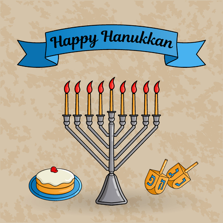 Jewish holiday Hanukkah greeting card. Traditional menora with burning candles, dreidels with Hebrew letters, donut with jam called sufganiyah. Vector illustration. Ilustração