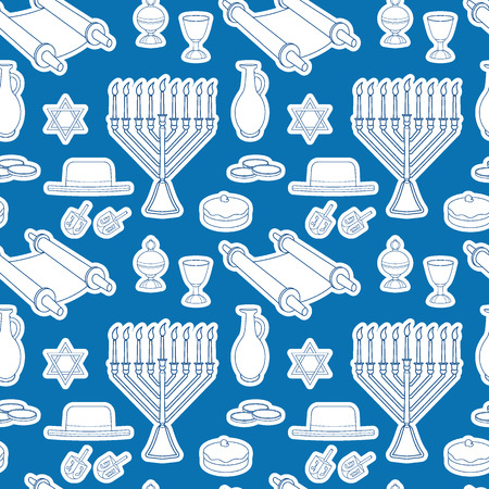 Jewish holiday Hanukkah seamless pattern. Traditional menorah, candles, Dreidel with Hebrew letters, jug of oil, a bowl of wine. Blue line vector illustration.
