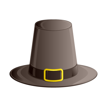 Pilgrim hat with ribbon and golden buckle. Autumn and Thanksgiving Day symbol. Isometric, 3d icon isolated on white background. Illustration