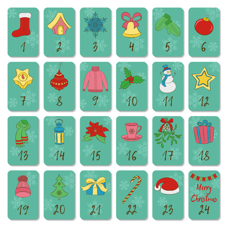 Advent calendar. Retro Christmas, winter and New Year symbols. Hand drawing style. Doodles vector poster. Used for printing, greeting card, banner.