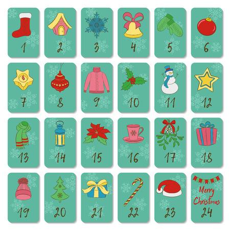 Calendario de adviento. Símbolos retro de Navidad, invierno y año nuevo. Estilo de dibujo a mano. Cartel de vector de garabatos. Utilizado para impresión, tarjetas de felicitación, banner. Ilustración de vector
