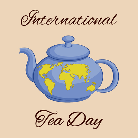International Tea Day theme. Teapot with a world map. Greeting card, poster or square banner. Vector illustration