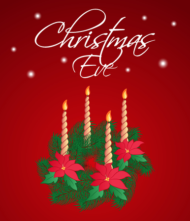 Christmas Eve greeting card or vertical banner. A traditional evergreen wreath with poinsettia flowers and four candles on a dark red background. Vector