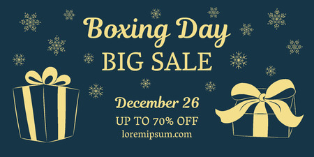Boxing day big sale horizontal banner. Gold gifts on a dark background. Place for your text. Vector illustration.