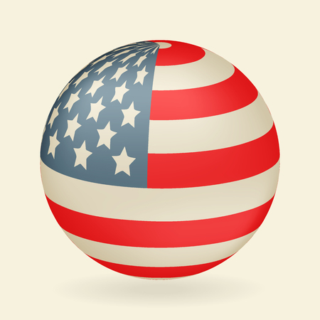 US flag in the shape of a ball. Icon isolated on beige background. Vector illustration.