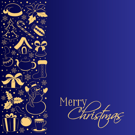 Christmas card with vertical border of winter symbols. Golden silhouettes of a snowman, gift, holly, poinsettia, Santa cap on a dark blue background. Sketch hand drawing style. Vector