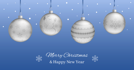 Festive horizontal banner or Christmas New Year card. Realistic silver balls on a blue background. You can write your own text. Vector illustration.