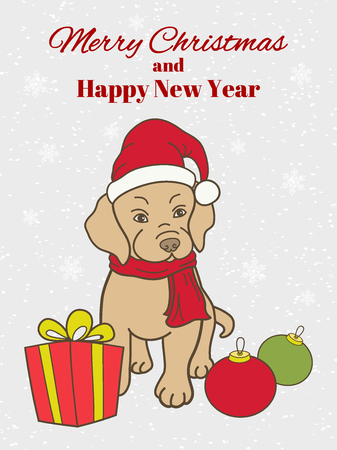 Christmas, New Year greeting card or vertical banner. Cute puppy in Santa hat and scarf. A gift and balls in front of him. Hand drawing style. Vector illustration.