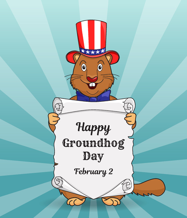 Happy Groundhog day greeting card or a vertical banner. Cartoon design with a cute little beast in a US flag hat on his head. Congratulatory inscription on an old scroll. Vector illustration. Illustration