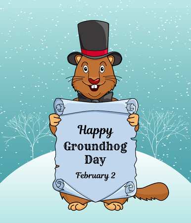 Happy Groundhog day greeting card or a vertical banner. Illustration