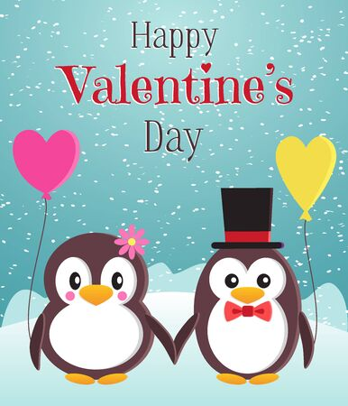Happy Valentine Day greeting card or vertical banner. Two cute penguins with balloons in the form of hearts. Flat style vector illustration.