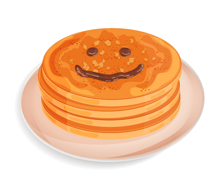 A pile of pancakes on a plate. Smiley face drawn with chocolate topping. Icon isolated on white background. Vector illustration. Usable for design menu, recipe, greeting card, banner, invitation, poster. 矢量图像