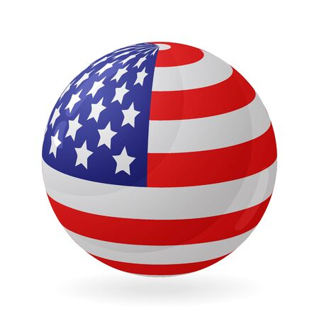 US flag in the shape of a ball. Icon isolated on white background. Vector illustration. Illustration